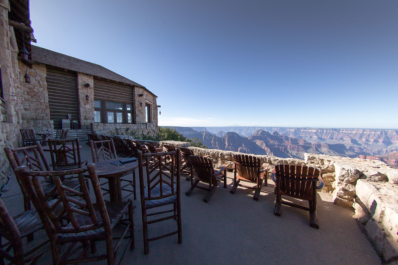 The view  from the North Rim Lodge Canyon observation room deck.