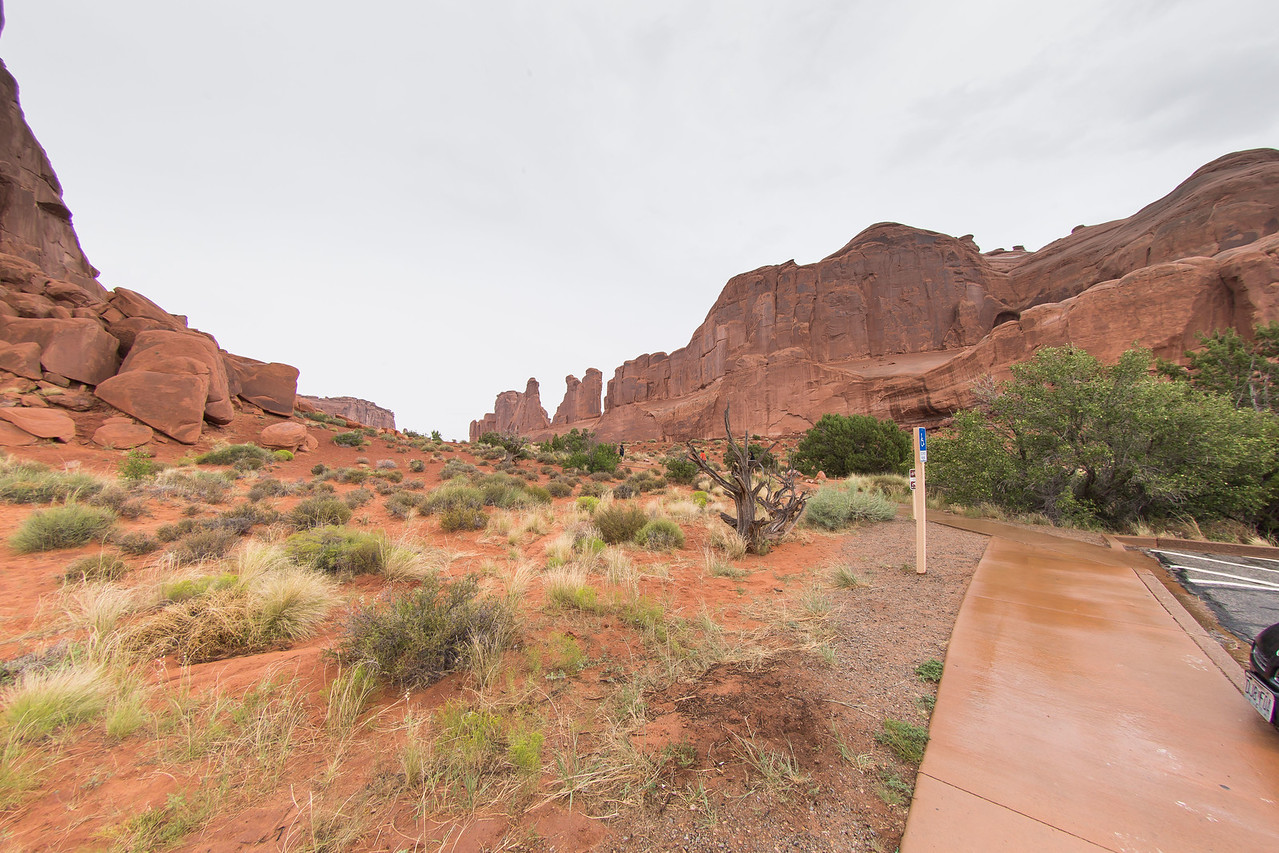 Arches National Park ,the only day on our trip with rain ,but it made for great pictures.