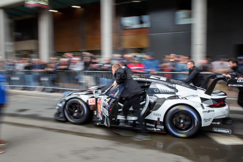 #88 Dempsey Proton Racing Porsche 911 RSR: Satoshi HOSHINO, Giorgio RODA, Matteo CAIROLI, Le Mans 24 Hours Public Scrutineering, Place de la République, Le Mans, France