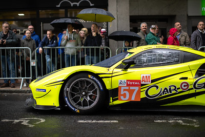 #57 CAR GUY RACING FERRARI 488 GTE: Takeshi KIMURA, Kei Francesco COZZOLINO, Come LEDOGAR, Le Mans 24 Hours Public Scrutineering, Place de la République, Le Mans, France