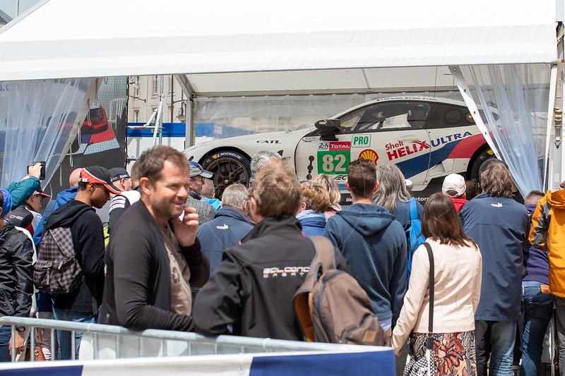 #82 BMW Team MTEK BMW M8 GTE: Antonio Felix da Costa, Augusto Farfus, Jesse Krohn, Le Mans 24 Hours Public Scrutineering, Place de la République, Le Mans, France