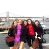 Jorie McLeod, Sarah Connors, Kate Benjamin, Lauren Sawyer and Andreea Arama pose for a photo in front of the Brooklyn Bridge. The fellows kicked off the first Friday of the fellowship by visiting the Seaport district after visiting the NY Stock Exchange.