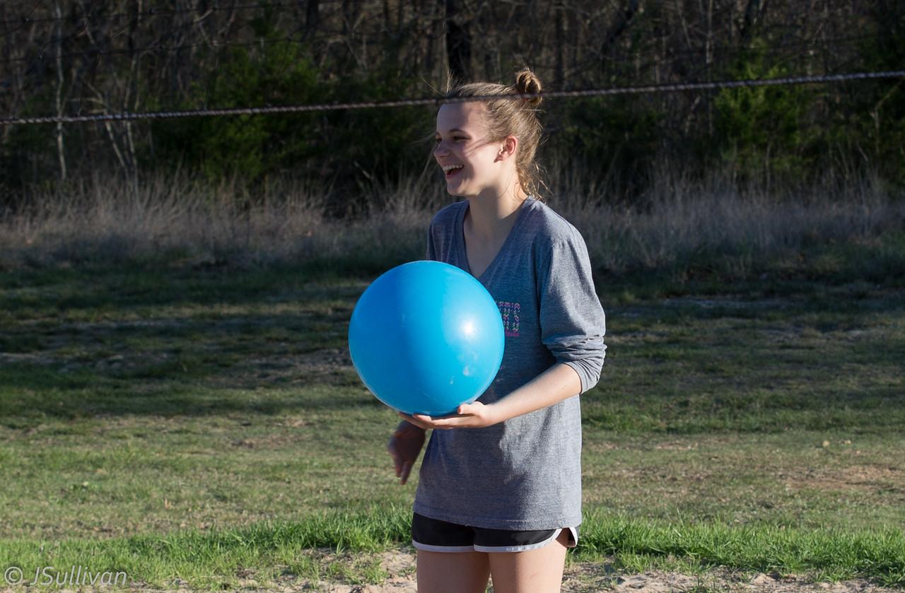 I'm so tall, I make this ball look regulation.