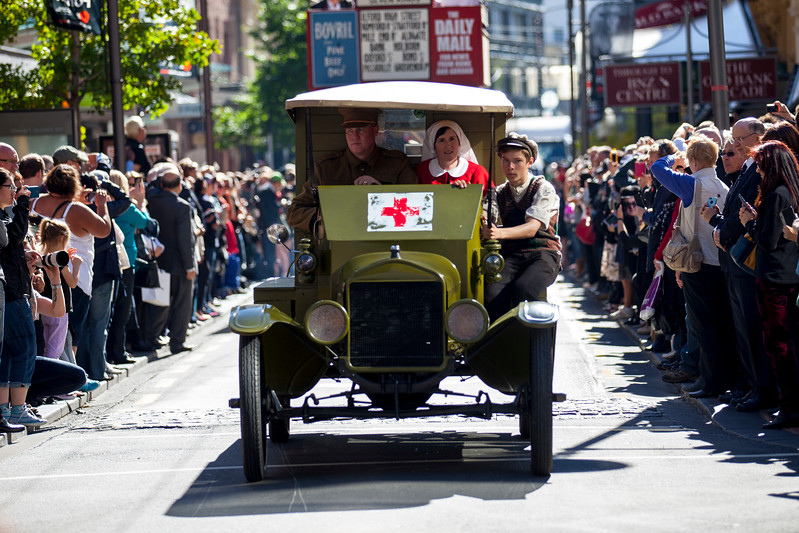 Images taken at Stewart Dawson's corner Wellington, New Zealand of the ANZAC Parade commemorating 100 years since the invasion of Gallipoli in World War I.<br /> Photo John.Mathews@xtra.co.nz<br /> Copyright: John Mathews 2015