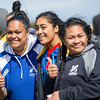 Action from the rugby match between Wellington Samoan Womens (blue) and Tasman Womens team  (white) played at Petone Recreational Ground on 26 September 2015. Copyright: John Mathews 02744 54321