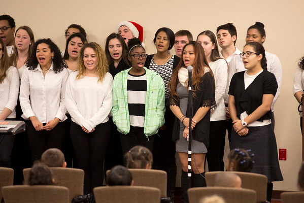 "The Ridgefield Park High School chorus came to Holy Name Medical Center to sing holiday classics for the kids in the ""Our Gang"" nursery school and staff. Photos by Jeff Rhode / Holy Name Medical Center"