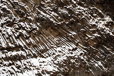 Basalt columns after a snowfall