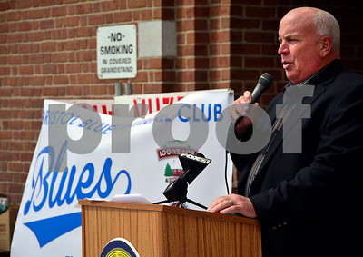 4/1/2015 Mike Orazzi | Staff Former New York Mets catcher, Barry Lyons, and Bristol Blues baseball team first coach talks about the upcoming Bristol Blues baseball season at Muzzy Field on Wednesday afternoon.