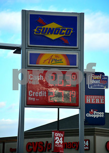1/2/2015 Mike Orazzi | Staff Gas prices at the Sunoco station at the intersection of Corbin Avenue and West Main Street in New Britain on Friday.