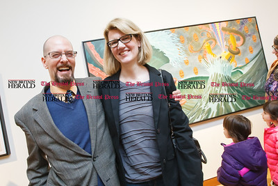 Karl Lund and his wife Stephanie Riefe Sunday during a exhibit opening Angry Robots Liquefied My Brain by Karl Lund at the New Britain Museum for American Art in New Britain  Mar. 1, 2015 | Justin Weekes / For the New Britain Herald