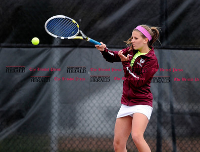 5/1/2015 Mike Orazzi | Staff Bristol Central's Melissa Buonafede during a tennis match Friday.