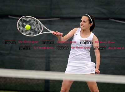 5/1/2015 Mike Orazzi | Staff Bristol Central's Ava Gorneault during a tennis match Friday.