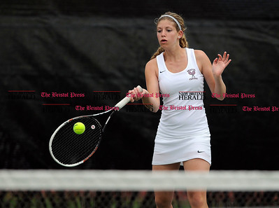 5/1/2015 Mike Orazzi | Staff Bristol Central's Bella Goralski during a tennis match Friday.