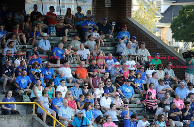 8/16/2015 Mike Orazzi | Staff Bristol Blues' fans during the Futures League Championship game between the Bristol Blues and the Worcester Bravehearts at Muzzy Field in Bristol on Sunday night. Bravehearts won 6-4.