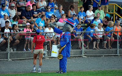 8/16/2015 Mike Orazzi | Staff Bristol Blues Mascot BB during the 50/50 raffle at the Futures League Championship game between the Bristol Blues and the Worcester Bravehearts at Muzzy Field in Bristol on Sunday night. Bravehearts won 6-4. "|400|250|?|en|2|e1c37572b495da232af46bd7cd4e96d6|False|UNLIKELY|0.3439314663410187