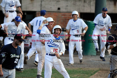 8/16/2015 Mike Orazzi   Staff Bristol Blues's Tyler Packanik (15) celebrates a run  during the Futures League Championship game between the Bristol Blues and the Worcester Bravehearts at Muzzy Field in Bristol on Sunday night. Bravehearts won 6-4.