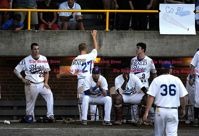 8/16/2015 Mike Orazzi | Staff The Bristol Blues after a loss in the Futures League Championship game between the Bristol Blues and the Worcester Bravehearts at Muzzy Field in Bristol on Sunday night. Bravehearts won 6-4.