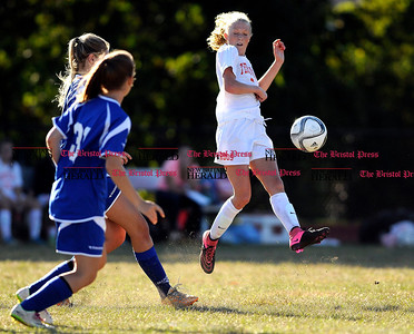 9/15/2015 Mike Orazzi   Staff Terryville's Jenna Covello (2) during soccer at THS on Tuesday.