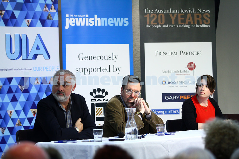 22-3-15. Israeli election panel discussion at Beth Weizmann. From left: Greg Sheridan, Or Avi-Guy. Photo: Peter Haskin