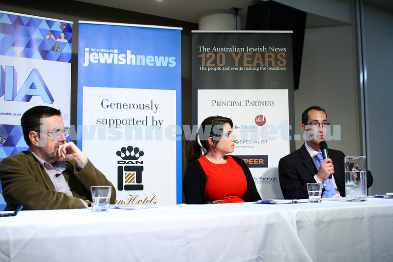 22-3-15. Israeli election panel discussion at Beth Weizmann. From left: Greg Sheridan, Or Avi-Guy, Nathan Jeffay. Photo: Peter Haskin