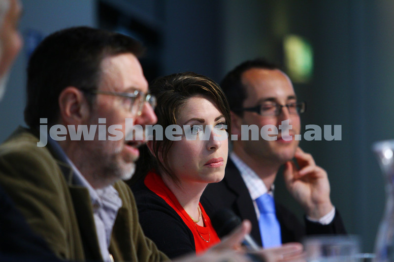 22-3-15. Israeli election panel discussion at Beth Weizmann. From left: Sam Tatarka, Greg Sheridan, Or Avi-Guy, Nathan Jeffay. Photo: Peter Haskin