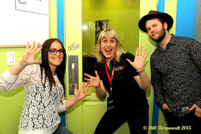 The Orchard were the first artists to sign the new studio door - Kasha Anne, Jen Dalen, Mitch Smith - FM 88.1 The One Sign On 046