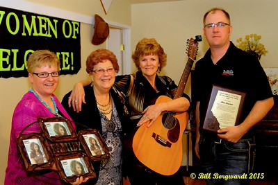 Richelle Hjelmeland, Shirley Hartman, Alice Sinclair, Tyler of Big West Country - Presentation of a Lifetime Achievement Award - Alberta's Men & Women of Country Music 2015