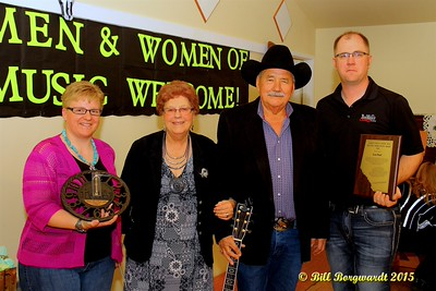 Richelle Hjelmeland, Shirley Hartman, Lou Paul, Tyler of Big West Country - Presentation of a Lifetime Achievement Award - Alberta's Men & Women of Country Music 2015