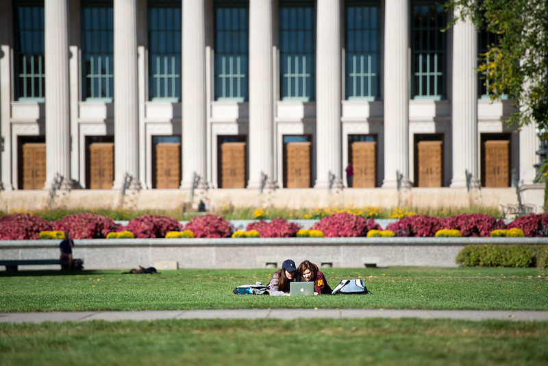 Studying on Northrop Lawn