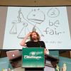 "Joshua Boucher/Staff Photographer <br /> Tom Toles's rule number three for editorial cartooning is to ""be fair*."" The astirix refers the comment that he gets to decide what is fair. Toles is an editorial cartoonist for the Washington Post, speaks at the Amphitheater on Thursday July 30, 2015. In his lecture he told the audience the five steps it takes to make editorial cartoons and discussed his recent work."