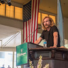 Joshua Boucher/Staff Photographer <br /> Tom Toles, editorial cartoonist for the Washington Post, speaks at the Amphitheater on Thursday July 30, 2015. In his lecture he told the audience the five steps it takes to make editorial cartoons and discussed his recent work.