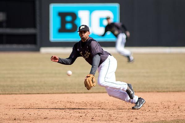 Purdue third baseman Brandon Krieg attempts to field a ball against Rutgers at Alexander Field