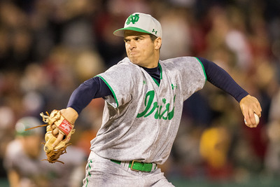 Scott Tully pitches during the Notre Dame baseball game against theIndiana Hoosiers at Victory Field on April 22, 2015
