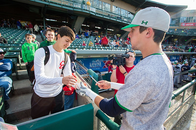 Conor Biggio signs a ball for a fan prior to during the Notre Dame baseball game against theIndiana Hoosiers at Victory Field on April 22, 2015