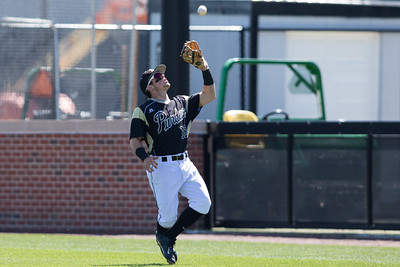 Cody Strong fields a pop up during the Purdue baseball game against Maryland on April 26, 2015