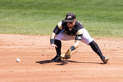 Cody Strong fields a ground ball during the Purdue baseball game against Maryland on April 26, 2015