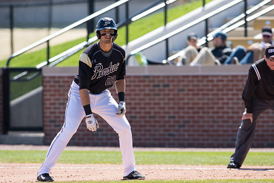 Kyle Johnson gets a lead off of first during the Purdue baseball game against Maryland on April 26, 2015