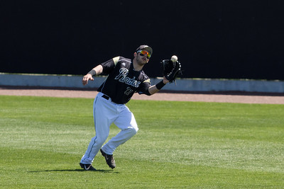 Jack Picchiotti catches a fly ball during the Purdue baseball game against Maryland on April 26, 2015