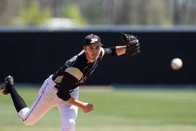 Gavin Downs pitches during the Purdue baseball game against Maryland on April 26, 2015