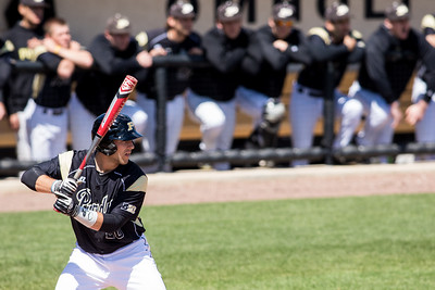 Brett Carlson bats during the Purdue baseball game against Maryland on April 26, 2015
