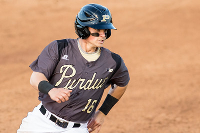 Cody Strong rounds third base during the Purdue baseball game against Illinois State on April 28, 2015