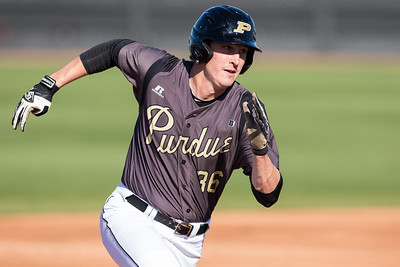 James Jewell rounds second base during the Purdue baseball game against Illinois State on April 28, 2015