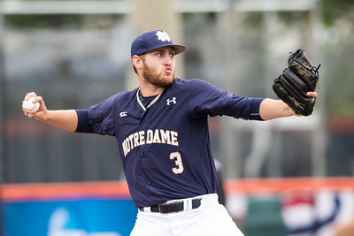 Ryan Smoyer pitches during the NCAA Champaign Regional Game between Notre Dame and Illinois on May 31, 2015