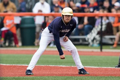 Kyle Fiala looks in to the pitcher during the NCAA Champaign Regional Game between Notre Dame and Illinois on May 31, 2015