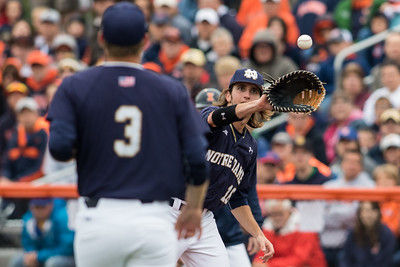 Ryan Smoyer throws to Zak Kutsulis during the NCAA Champaign Regional Game between Notre Dame and Illinois on May 31, 2015