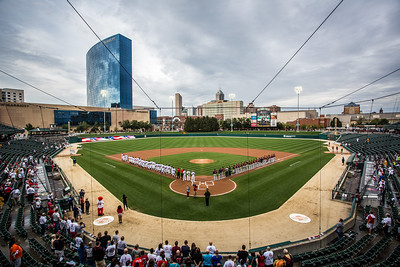 The teams line up for the National Anthem at Victory Field prior to the 2015 International League Playoffs David Wegiel/Pinola Photography