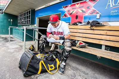 Tony Sanchez prepares for the opening game of the 2015 International League Playoffs David Wegiel/Pinola Photography