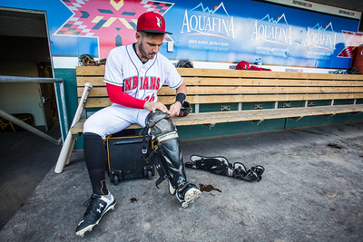 Tony Sanchez straps on his gear prior to the International League Playoff game on September 10, 2015 (Photo: David Wegiel/Pinola Photography)