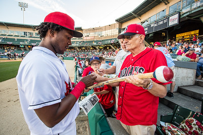 Josh Bell signs an autograph for a fan prior to the International League Playoff game on September 10, 2015 (Photo: David Wegiel/Pinola Photography)