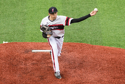 Cincinnati Bearcat J.T. Perez pitches against the Toldeo Rockets at Marge Schott Stadium